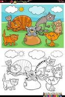 cartoon funny cats group coloring book page vector