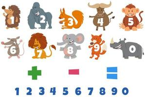numbers set with cartoon wild animal characters