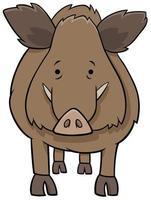 Divertido personaje animal de dibujos animados de jabalí vector