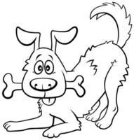 caricatura, feliz, perro, con, hueso, libro colorear, página vector