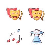Conjunto de iconos de colores rgb de géneros de películas tradicionales. comedia divertida, drama serio, musical y ciencia ficción. vector
