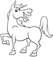 horse farm animal character coloring book page vector