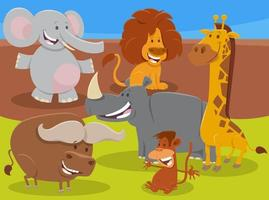 funny cartoon wild African animal characters group vector