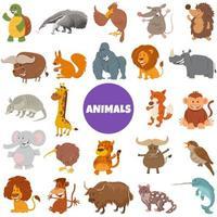 cartoon wild animal characters big set vector