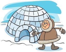 esquimal, con, iglú, caricatura, ilustración vector