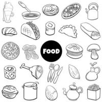 black and white food objects big set cartoon illustration vector