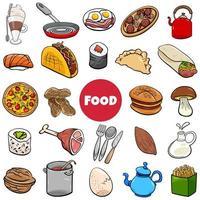 food objects big set cartoon illustration vector