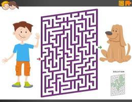 juego de laberinto con niño de dibujos animados y cachorro vector
