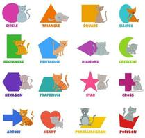Conjunto de formas geométricas con personajes de gatos lindos vector