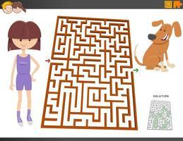 juego de laberinto con niña de dibujos animados y perrito vector