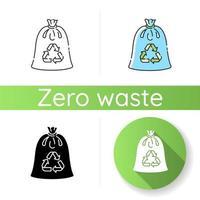 icono de bolsa de basura compostable vector