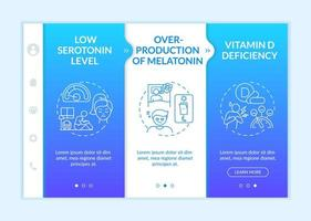 Seasonal affective disorder causes onboarding vector template