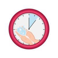 Reloj con lavado de manos sobre fondo blanco.