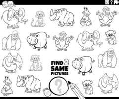 find two same wild animal characters color book page vector