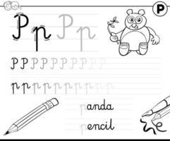aprender a escribir la letra p libro de ejercicios para niños vector