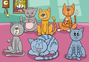 cats group in the house cartoon illustration vector