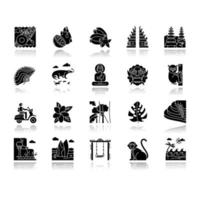 Indonesia drop shadow black glyph icons set. Tropical country animals. Trip to Indonesian islands. Exotic culture. Unique fruits, plants. Nature and architecture wonders. Isolated vector illustrations