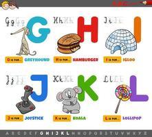 letras del alfabeto de dibujos animados educativos para niños vector