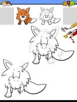 Dibujo y hoja de trabajo para colorear con animal zorro vector