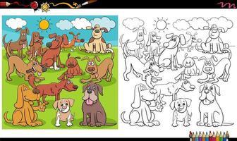 Grupo de personajes de perros juguetones página de libro para colorear vector