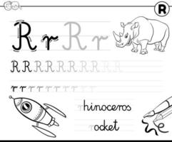 learn to write letter R workbook for children vector
