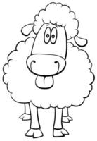 sheep farm animal character coloring book page vector