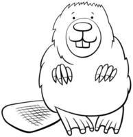 caricatura, castor, animal, libro colorear, página vector