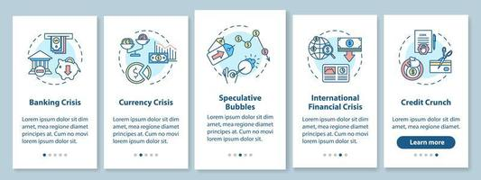 Financial crisis onboarding mobile app page screen with concepts.