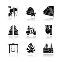 Indonesia drop shadow black glyph icons set. Tropical country animals. Trip to Indonesian islands. Exotic wildlife. Unique flora, fauna. Bali sightseeing, architecture. Isolated vector illustrations