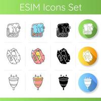 Zero waste icons set