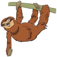 funny sloth cartoon animal character on branch vector