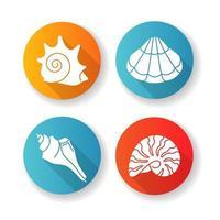 Conjunto de iconos de glifos de sombra larga de diseño plano de conchas marinas vector