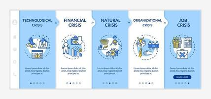 Crisis types onboarding vector template. Financial, natural, technological and organizational emergencies.