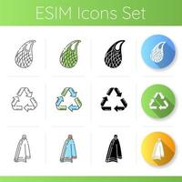 Zero waste products icons set vector
