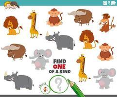 tarea única con personajes de animales salvajes vector