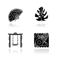 Indonesia drop shadow black glyph icons set. Tropical country plants. Trip to Indonesian islands. Exploring exotic culture traditions. Unique souvenirs. Floating market. Isolated vector illustrations