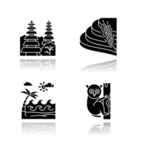 Indonesia drop shadow black glyph icons set. Tropical animals. Vacation in Indonesia. Exploring exotic wildlife. Unique flora, fauna. Bali sightseeing and architecture. Isolated vector illustrations