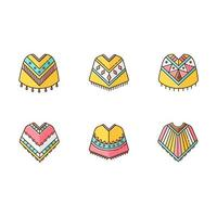 Poncho RGB color icons set. Mexican, Peruvian wear. Hispanic ethnic woolen clothes. Motley warm traditional costume. Simple indian outerwear. Isolated vector illustrations