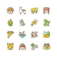 Peru RGB color icons set. Peruvian sights, culture, nature, cuisine. Traveling in Latin America. Alpaca, guinea pig, siku, poncho, cherimoya, ceviche, jaguar, incas. Isolated vector illustrations