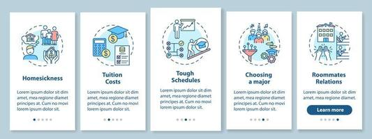 College living difficulty onboarding mobile app page screen with concepts