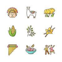 Conjunto de iconos de color rgb de Perú. historia hispana, agricultura, ganadería, tradiciones, cultura, gastronomía. incas, alpaca, cuy, maíz, coca, vainilla, ceviche, marinera. ilustraciones vectoriales aisladas vector