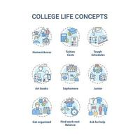 College life concept icons set