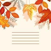 card with leafs autumn decoration
