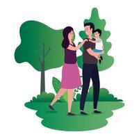 pareja de padres con hijo pequeño en los personajes del parque