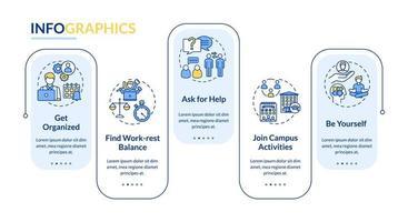 plantilla de infografía de vector de vida estudiantil