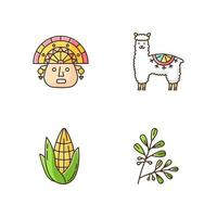 Peru RGB color icons set. Andean country features. Alpaca, incas, corn, coca. Incas history, and life traditions. Peruvian customs. Traveling in South America. Isolated vector illustrations