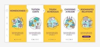 Student difficulties onboarding vector template