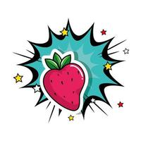delicious strawberry with explosion pop art style icon vector