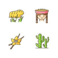 Peru RGB color icons set. Incas country features. Guinea pig, peruvian girl, vanilla, cactuses. Andean region traditions and nature. Traveling in South America. Isolated vector illustrations