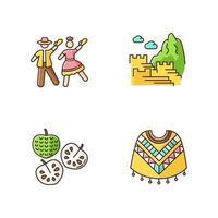 Conjunto de iconos de color rgb de Perú. mezcla de tradiciones españolas y nativas americanas. atractivos turísticos andinos. marinera, machu picchu, chirimoya, poncho. viaje en latinoamerica. ilustraciones vectoriales aisladas